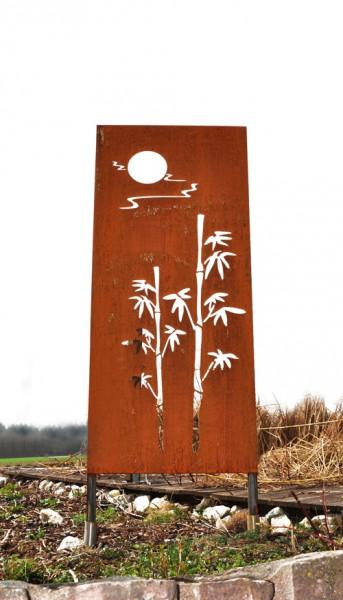 """SW30006 Edelrost Sichtschutzwand """"Bambus mit Sonne"""" 180 x 80cm"""